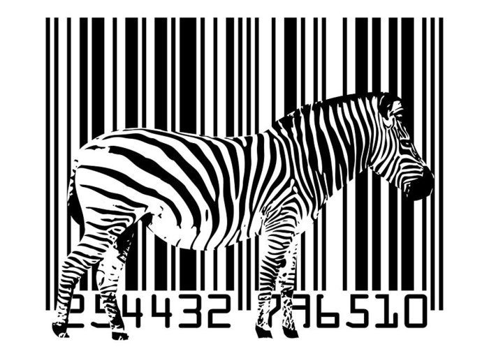 Zebra Greeting Card featuring the digital art Zebra Barcode by Michael Tompsett