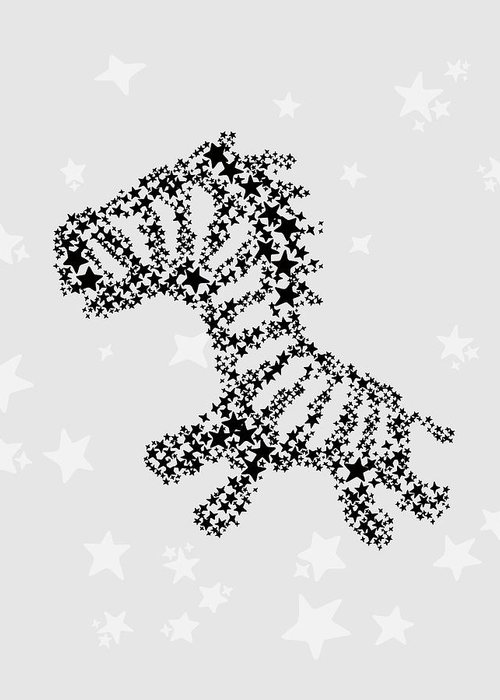 Animal Greeting Card featuring the digital art Zebra Black Star by Hieu Tran