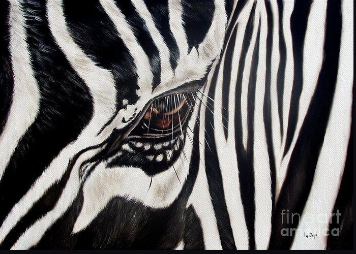 Zebra Greeting Card featuring the painting Zebra Eye by Ilse Kleyn