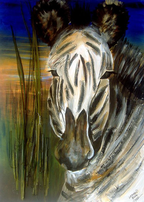 Animals Greeting Card featuring the painting Zebra by Latonja Davis-Benson