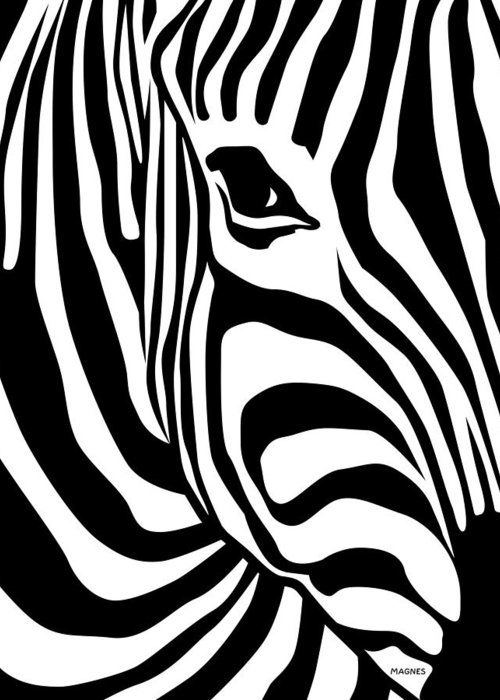 Zebra Greeting Card featuring the digital art Zebra by Ron Magnes