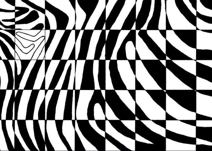 Zebra Greeting Card featuring the painting Zebra by Viktor Stakhov