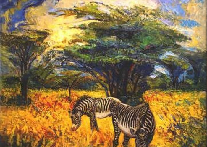 Zebra Greeting Card featuring the painting Zebras by Meihua Lu