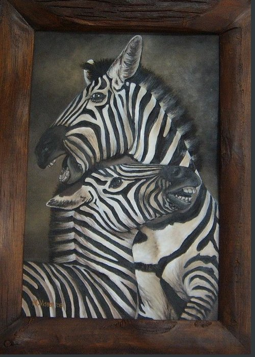 Zebras Greeting Card featuring the painting Zebras by Nellie Visser