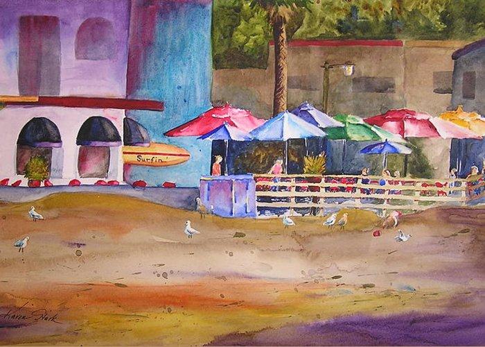 Umbrella Greeting Card featuring the painting Zelda's Umbrellas by Karen Stark