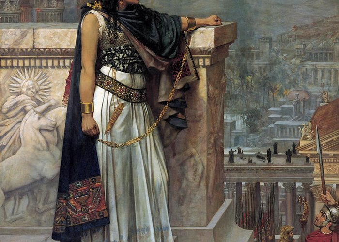 Female Greeting Card featuring the painting Zenobia's Last Look On Palmyra by Herbert Gustave Schmalz
