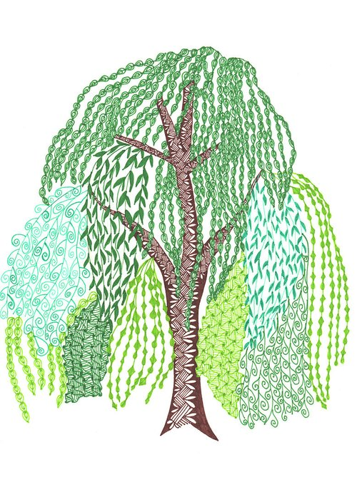 Zentangled willow tree greeting card for sale by sharon white willow tree zentangle leaves nature greeting card featuring the drawing zentangled willow tree by sharon white m4hsunfo