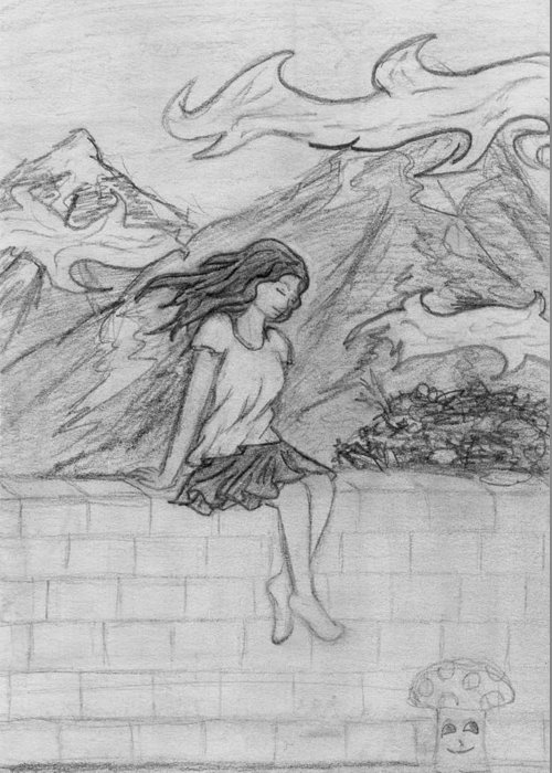 Wind Greeting Card featuring the drawing Zephyr by Desiree D'Arnall