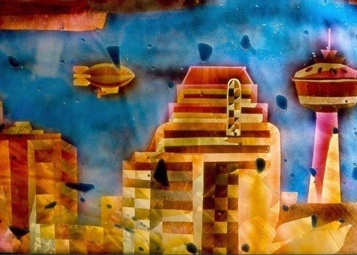Landscape Greeting Card featuring the painting Zepplins Detail by Rick Silas