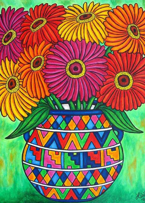 Zinnia Greeting Card featuring the painting Zinnia Fiesta by Lisa Lorenz