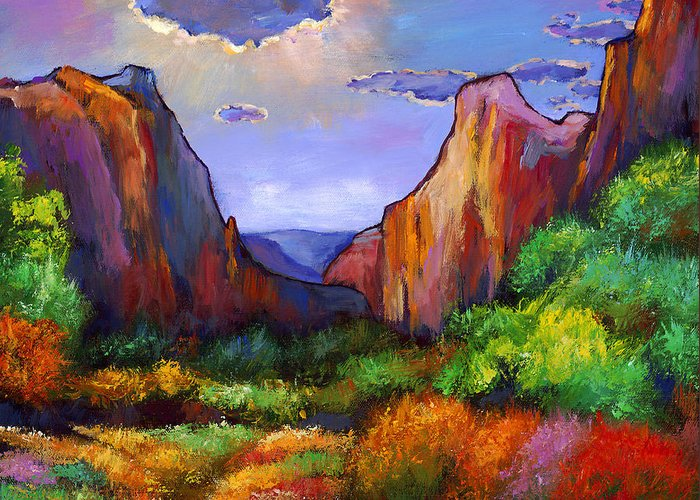 Southwest Landscapes Greeting Card featuring the painting Zion Dreams by Johnathan Harris