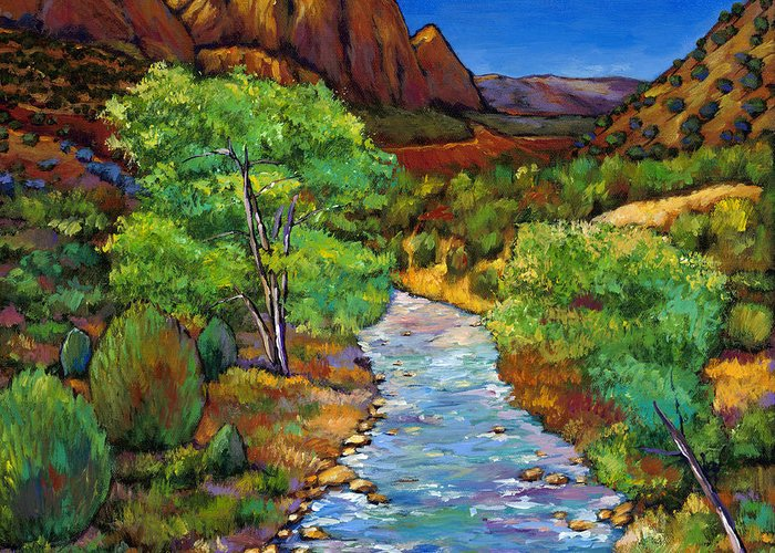 National Parks Greeting Card featuring the painting Zion by Johnathan Harris