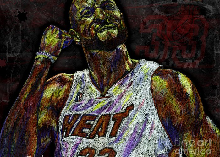 Alonzo Mourning Greeting Card featuring the drawing Zo by Maria Arango