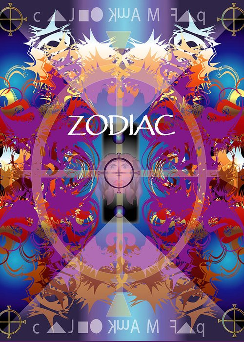 Abstaract Greeting Card featuring the digital art Zodiac 2 by George Pasini