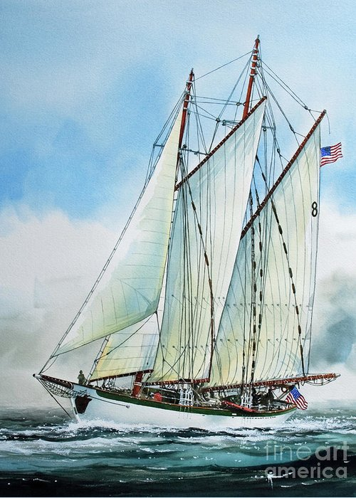Tall Ship Print Greeting Card featuring the painting Zodiac by James Williamson