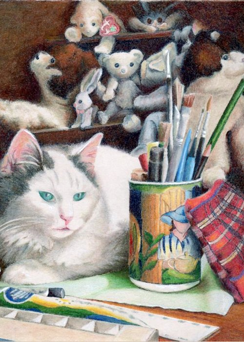 Cat Greeting Card featuring the painting Zoe And Friends by Robynne Hardison