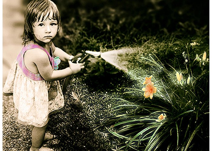 Children Greeting Card featuring the photograph Zoe Waters The Flowers by Karen W Meyer