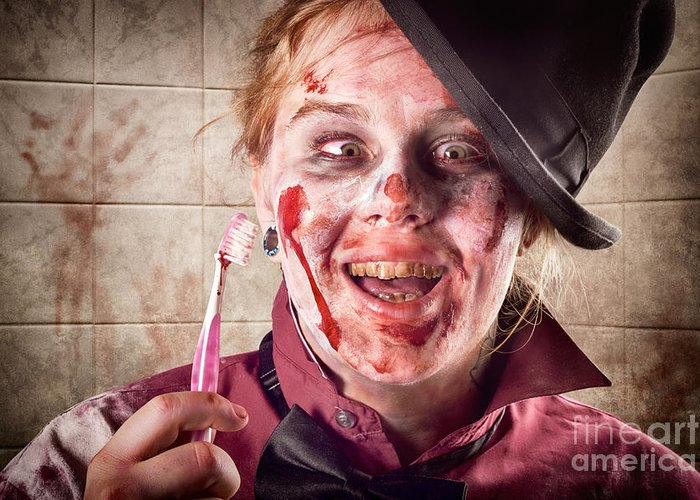 Dentist Greeting Card featuring the photograph Zombie At Dentist Holding Toothbrush. Tooth Decay by Jorgo Photography - Wall Art Gallery