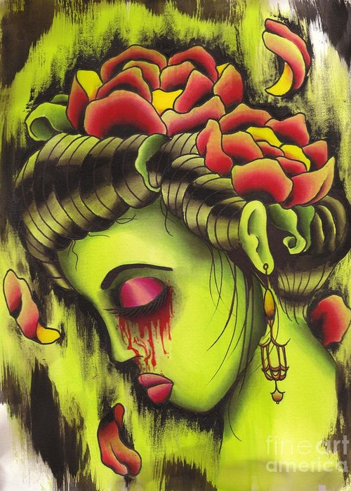 Tattoo Greeting Card featuring the painting Zombie Girl No2 by Lauren B