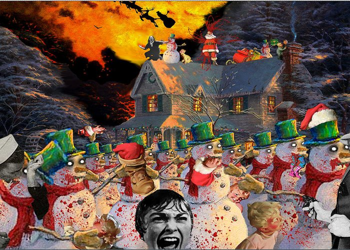 Zombies Greeting Card featuring the digital art Zombie Snowmen Christmas by Barry Kite