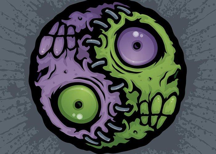 Zombie Greeting Card featuring the drawing Zombie Yin-yang by John Schwegel
