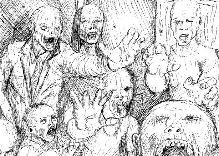 Zombies Greeting Card featuring the drawing Zombies by Demian Legg