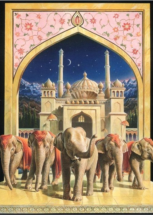 Elephants Greeting Card featuring the painting Zoofari Poster The Elephants by Hans Droog