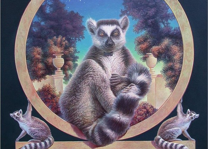 Lemur Greeting Card featuring the painting Zoofari Poster The Lemur by Hans Droog