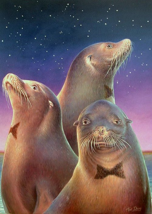 Sea Lion Greeting Card featuring the painting Zoofari Poster The Sea Lion by Hans Droog