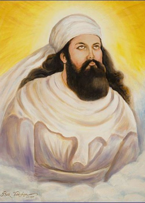 Person Greeting Card featuring the painting Zoroaster by Boz Vakhshori