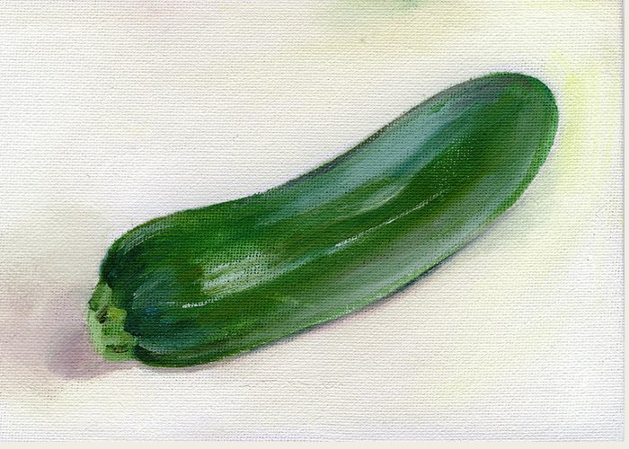 Food Greeting Card featuring the painting Zucchini by Sarah Lynch