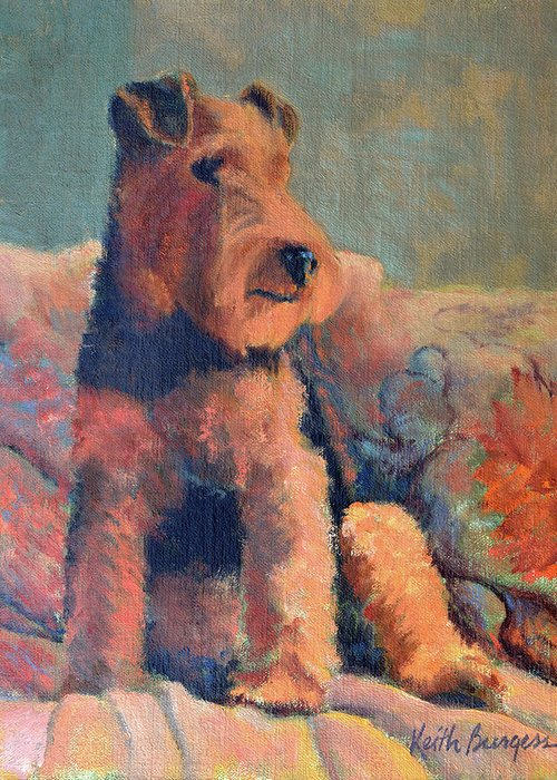 Pet Greeting Card featuring the painting Zuzu by Keith Burgess