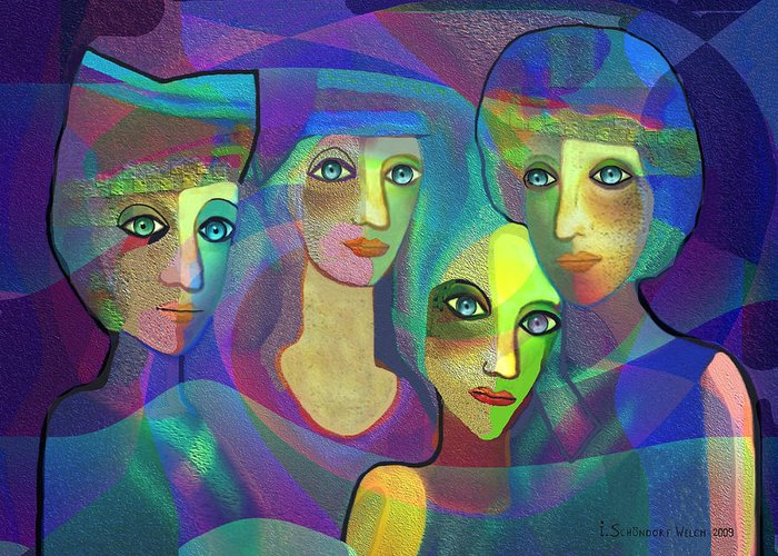 Face Greeting Card featuring the digital art 027 Four Sisters Blue  by Irmgard Schoendorf Welch
