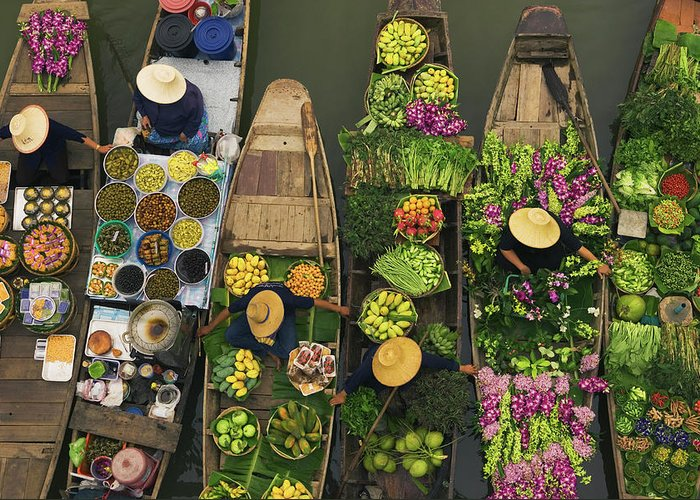 People Greeting Card featuring the photograph A Floating Market On A Canal In by Mint Images - Art Wolfe