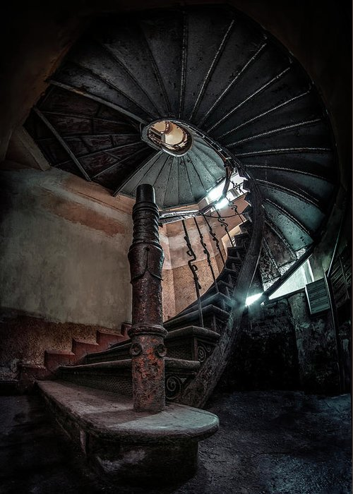Stairway Greeting Card featuring the photograph Abandoned Staircase by Jaroslaw Blaminsky