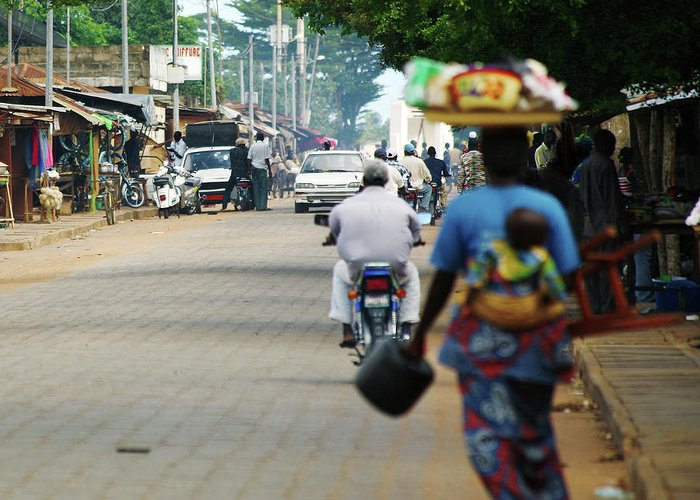 Trading Greeting Card featuring the photograph African Street Scene by Peeterv