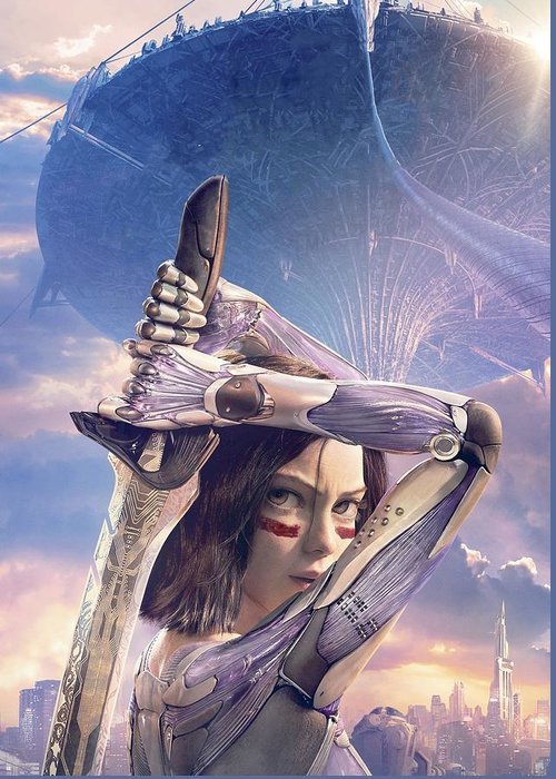 Alita Battle Angel Greeting Card featuring the digital art Alita Battle Angel by Geek N Rock