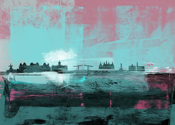 Amsterdam Greeting Card featuring the mixed media Amsterdam Abstract Skyline I by Naxart Studio