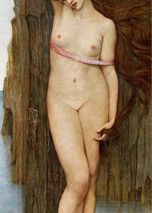 Stanhope Greeting Card featuring the painting Andromeda by John Roddam Spencer Stanhope