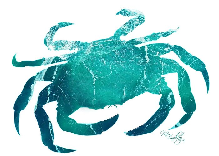 Crab Greeting Card featuring the digital art Art Sea Crab In Turquoise by Micki Findlay