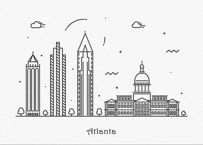 Atlanta Greeting Card featuring the drawing Astana Cityscape Travel Poster 1 by Inspirowl Design