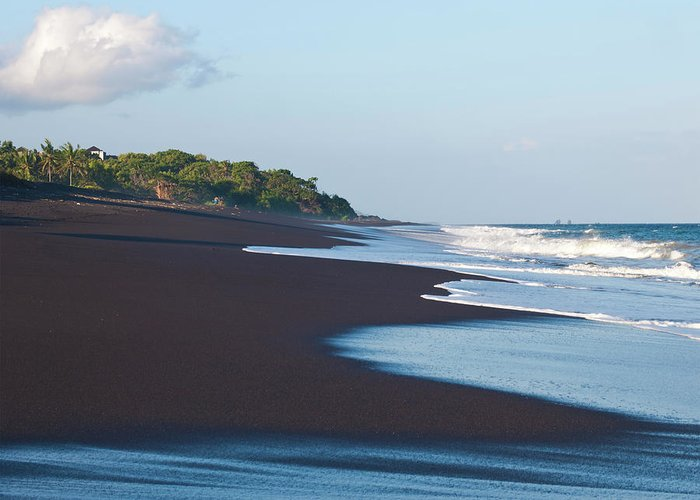 Long Greeting Card featuring the photograph Black Sand Beach by Davorlovincic
