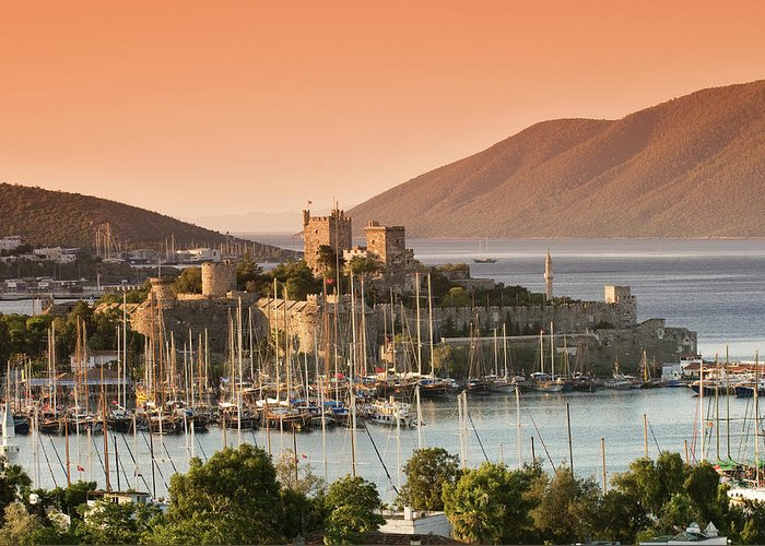 Built Structure Greeting Card featuring the photograph Bodrum Castle by Izzet Keribar