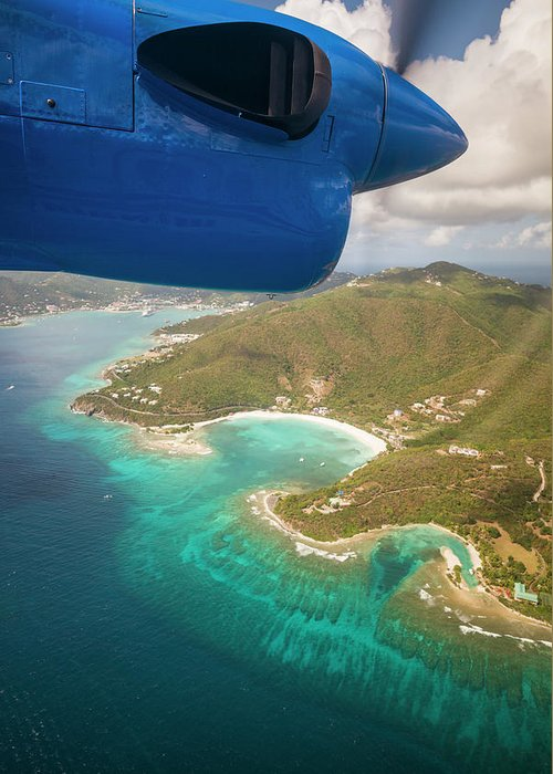Aerial Greeting Card featuring the photograph British Virgin Islands, Tortola by Walter Bibikow