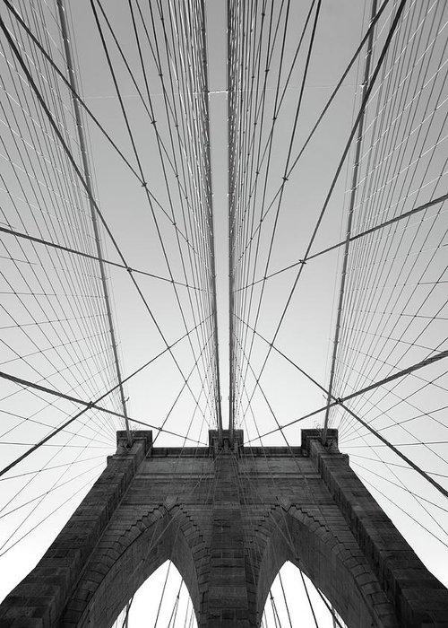 Arch Greeting Card featuring the photograph Brooklyn Bridge by Jimschemel