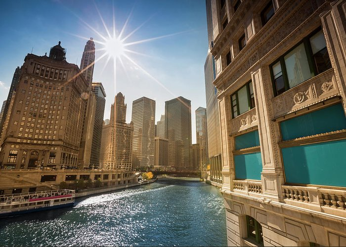 Downtown District Greeting Card featuring the photograph Chicago Cityscape And River by Pgiam