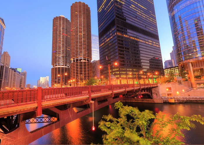 Downtown District Greeting Card featuring the photograph Chicago Downtown In Morning by Pawel.gaul