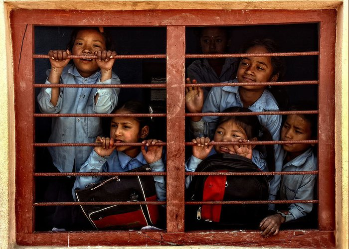 Nepal Greeting Card featuring the photograph Children Of Nepal - Series by Yvette Depaepe