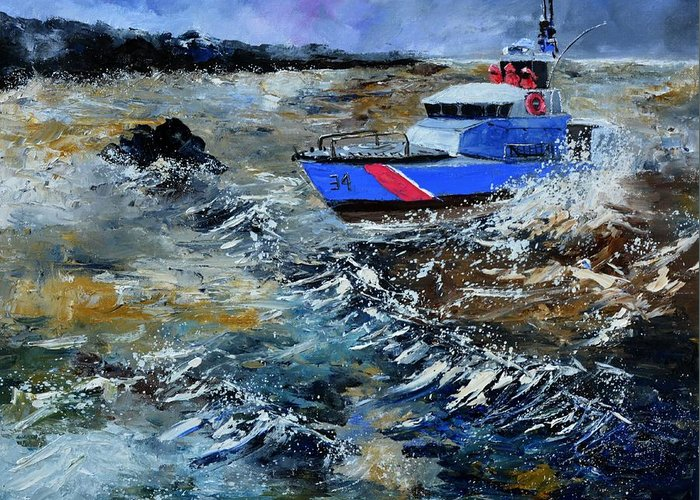 Seascape Greeting Card featuring the painting Coastguards by Pol Ledent