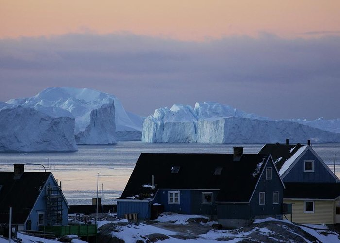 Iceberg Greeting Card featuring the photograph Colourful Houses And Blue Icebergs In by Timothy Allen